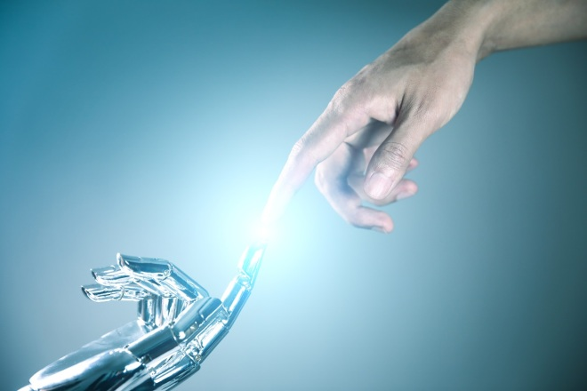 Human and robot hand connecting